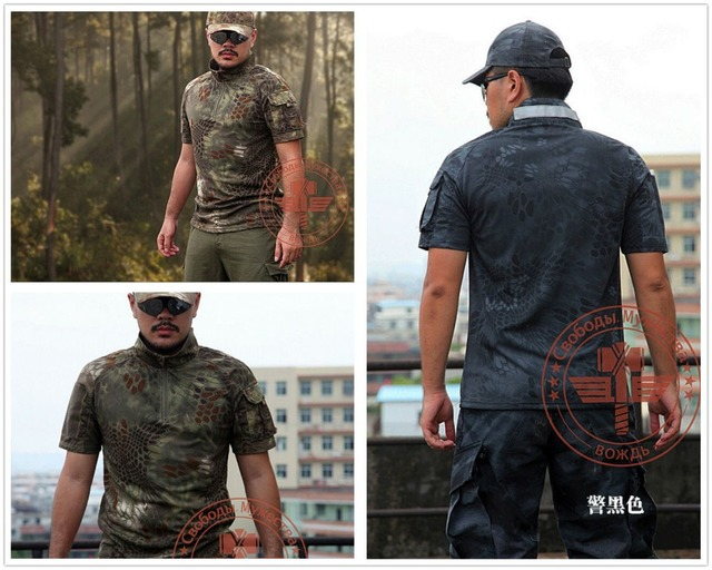 Python full camouflage T-shirt cotton T-shirt Rattlesnake tactical shooter sleeved T-shirt men free shipping