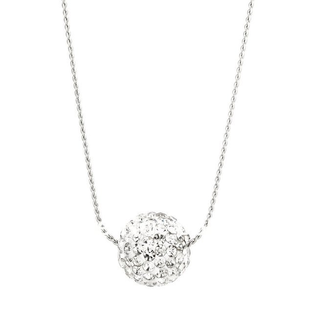 12mm disco Pave white crystal ball pendant necklace