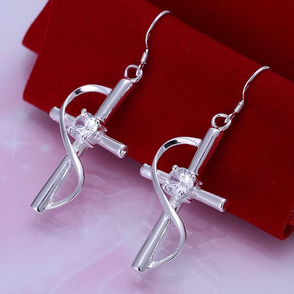 Free Shipping!!Wholesale silver plated Earring,925 jewelry silver,Inlaid Cross Earrings SMTE194