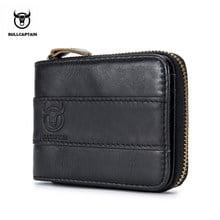 BULLCAPTAIN Genuine Cow Leather Men Wallet Fashion Coin Pocket Brand Trifold license Purse High Quality Male Card Photo Holder