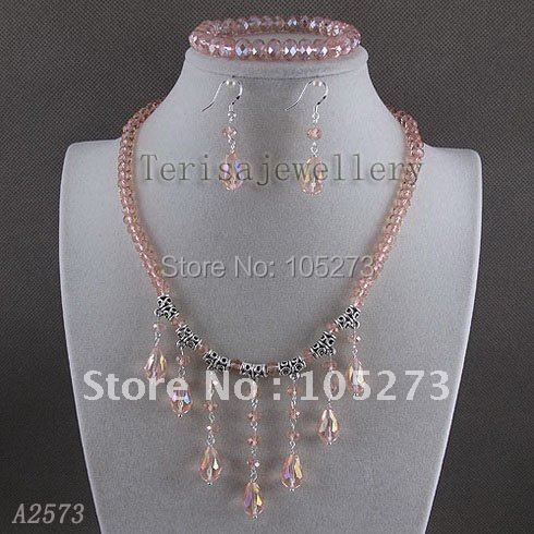 Stunning!crystal jewelry set AA 6x8mm Pink crystal necklace&bracelet & earring Wedding jewelry Hot sale free shipping A2573