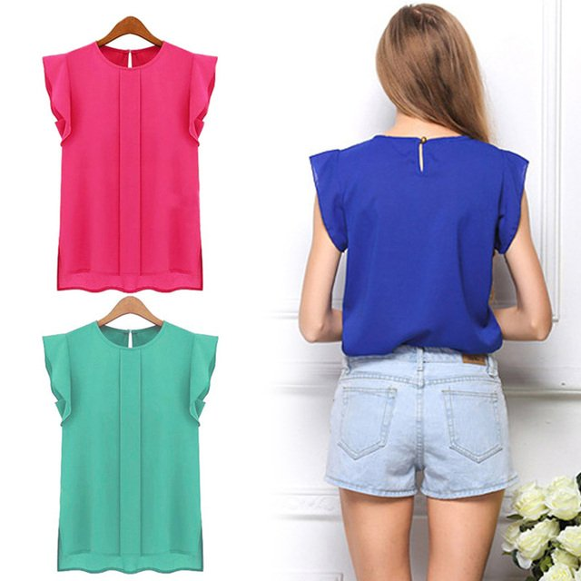 Vogue Cool Breathable Round Neck Shirt Chiffon Short Sleeve Street Home Ladie Tops Shirts Red Blue Green Korean tshirt Plus Size