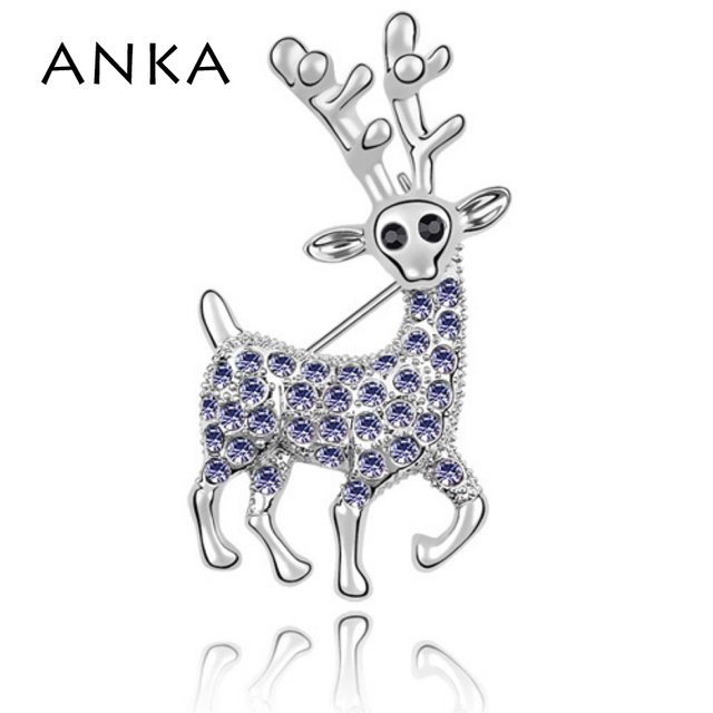 ANKA Hot Sale Elk Crystal Brooches Dress Deer Brooch Pin Crystal Jewelery Valentine's Day Gift For Women Girl #84975