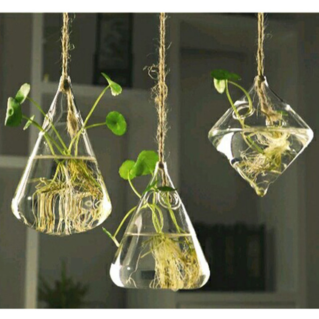 Hanging Glass Vase Hanging Terrarium Hydroponic Plant Flower Clear Container Indoor Hanging Vase Home Decor CA