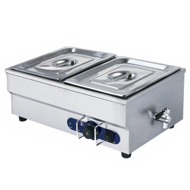 2 Pans stainless steel Bain Marie table top electric bain-marie buffet food warmer electric food warmer container