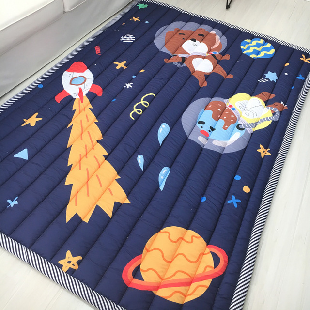 Kids Baby Play Mats 200*150CM 100% Cotton Square Toys Carpets Rugs Baby Game Mat Crawling Pads Cartoon Bedroom Picnic Rugs