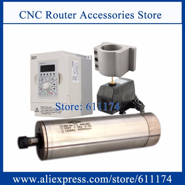 1.2Kw 60000rpm milling water cooled spindle motor 4 bearing & VFD 1.5KW AC220V Inverter & 62mm Mount & 75w water pump and tube