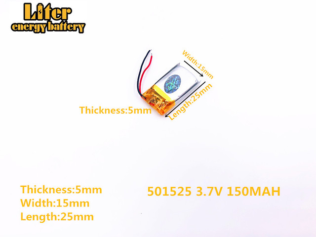 3.7v 501525 150mAh polymer lithium battery li-ion rechargeable battery 501525 plug MP3 MP4 MP5 small toys