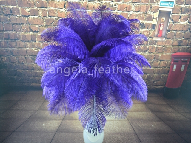 Wholesale - ---12-14inch 50pcs a  lot Royal Blue Ostrich Feather Plume,wedding centerpieces table decoration