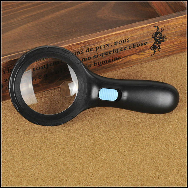 Free Shipping 3X75mm, 8X20mm Hand Held Magnifier Illuminated Magnifying Glass with 10 LED Light for Reading