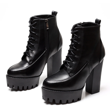 Women Boots Thick Platform Black Square High Heels Round Toe Ankle Boots Genuine Leather Ladies Motorcycle Boots Shoes CH-B0002