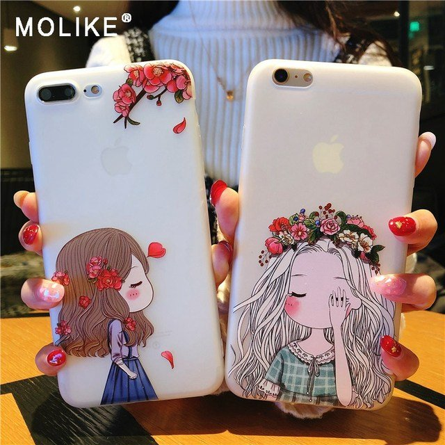 MOLIKE Soft TPU Case for iPhone 6 7 8 X Lovely Girl Half Transparent Phone Case for iPhone 5 5s 6 6s Plus 7 8 Plus X Back Cover