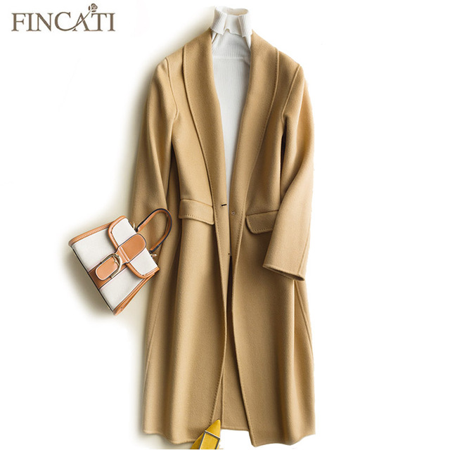 Women's Overcoat 2018 High-End Autumn Winter 100% Wool Hand-Made Edge Turn-Down Collar Soft Long Coat Outwear Clothing
