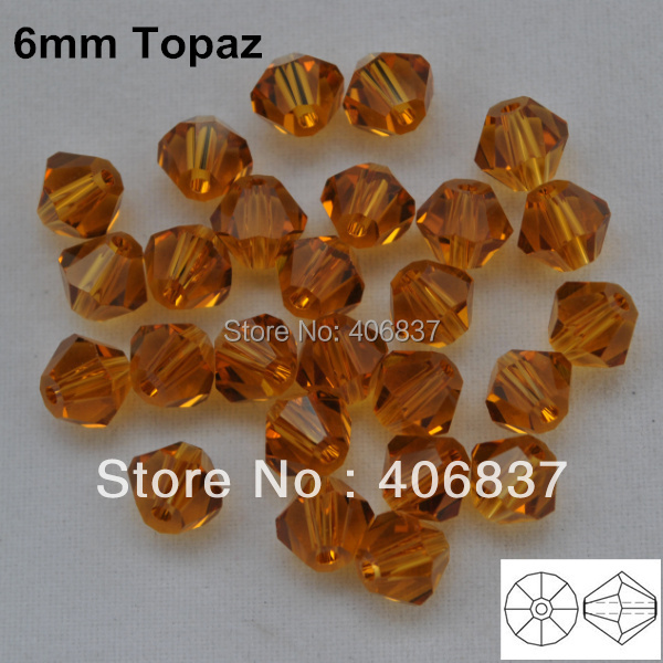 Free Shipping! 288pcs/Lot,  AAA Chinese Top Quality 6mm Topaz Crystal Bicone Beads