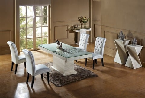 Natural Travertine Dining Table Set, High Quality Dining Room Sets