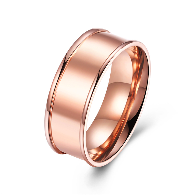Simple 316L Stainless Steel Ring Jewelry Rose Gold Color Sleek Titanium Wedding Bands Finger Ring For Women Men Accessories