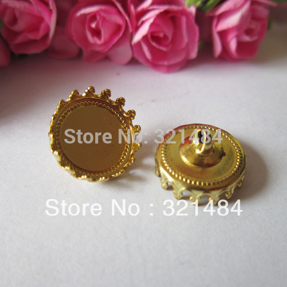 Wholesale lot 100X SilGold plated 12mm covers glass vial bottle caps for pendants blank jewelry bezels tray base findings