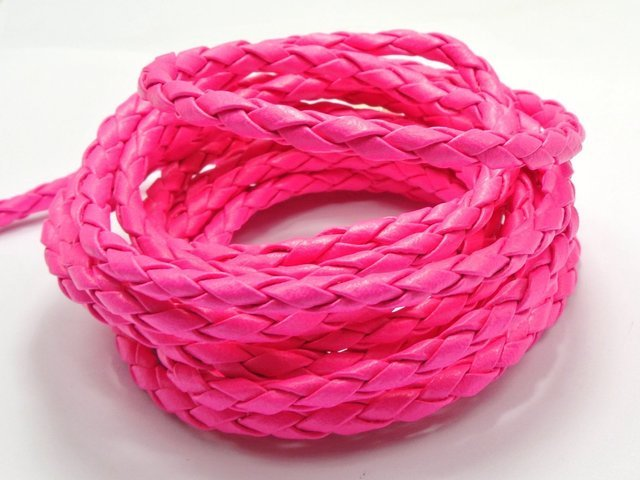 16.4 Feets Neon Hot-pink Round Braided Bolo Leatherette Jewelry Cord 5mm