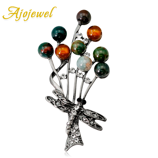 Ajojewel Women's Colorful Natural Stone Brooch Vintage Style Rhinestone Dragonfly Brooch Pin Costume Jewelry Gifts