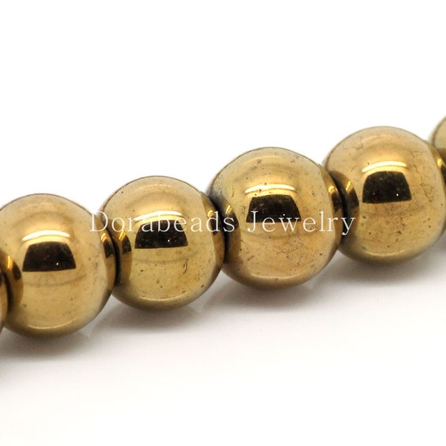 "DoreenBeads Created Hematite Beads Ball Round Gold color 10mm Dia,36cm(14 1/8"") long,Approx 40PCs (B25562), yiwu"