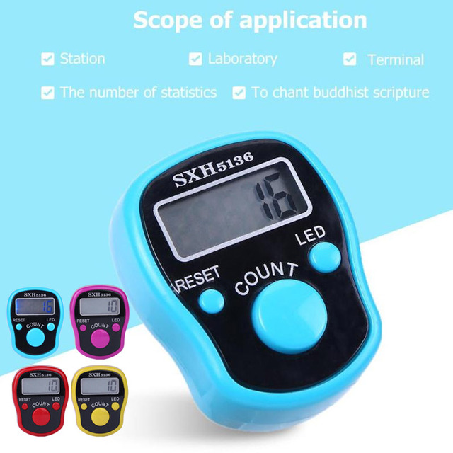 Buddha-Chanting Counter Electronic Counter Plastic with Light Portable Multi-Function Home LCD Screen Outdoors Finger Ring