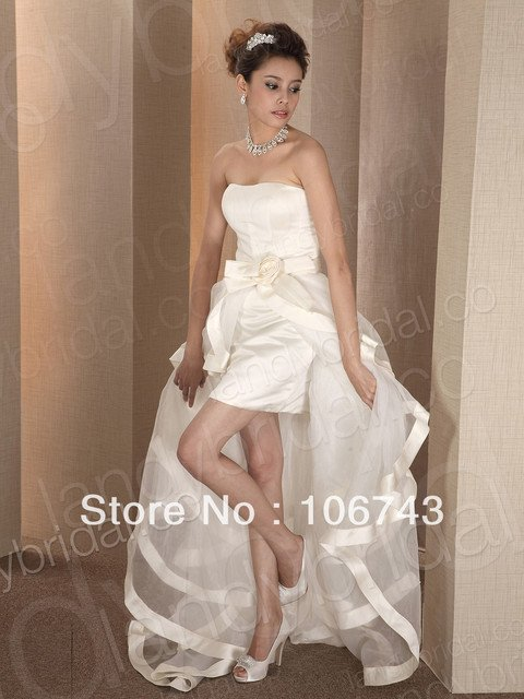 free shipping vestido de noiva 2018 High-low customized Removable Short Bridal Gown New SALE white organza bridesmaid Dresses