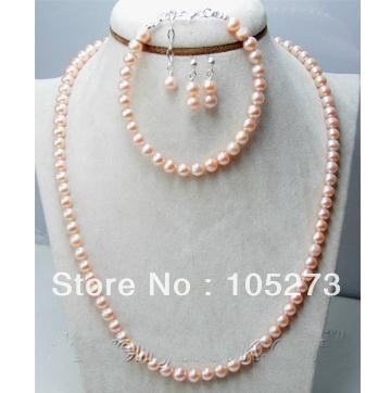 Charming Natural Pearl Jewelry Set Pink Color 6-7mm Genuine Freshwater Pearl Necklace Bracelet Earrings New Free Shipping