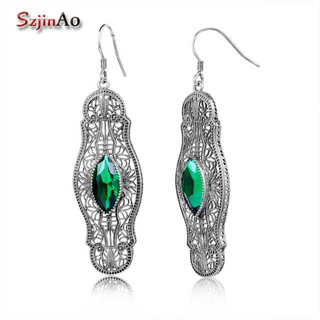 Szjinao Marquise Long Earrings 3.4ct Green Emerald Vintage Sterling-Silver-Jewelry 925 Silver Hanging Earrings From India