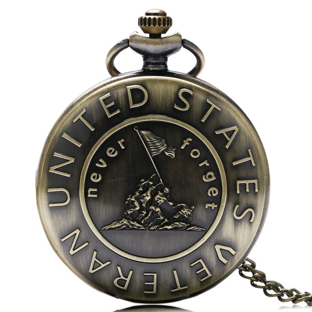 """Antique Retro Bronze """"Never Forget United States Veteran"""" Theme Pocket Watch With Necklace Chain Men Women Best Gift"""