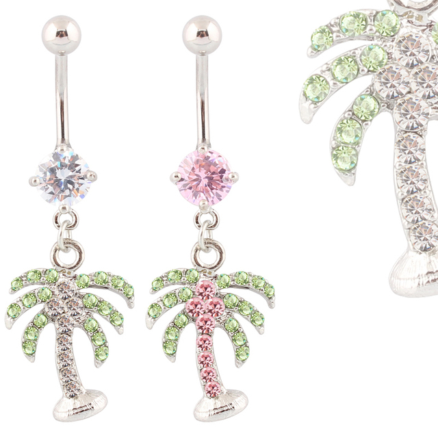 Piercing Coconut belly button rings body piercing navel rings body jewelry Wholesale 14G Surgical Steel