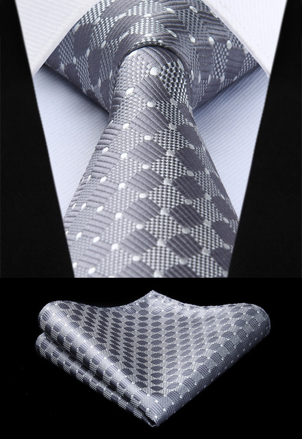 "TC615A8S Men Fashion Gray Check & Plaid 3.4"" Silk Woven Men Tie Necktie Handkerchief Set Party Wedding Classic Pocket Square Tie"