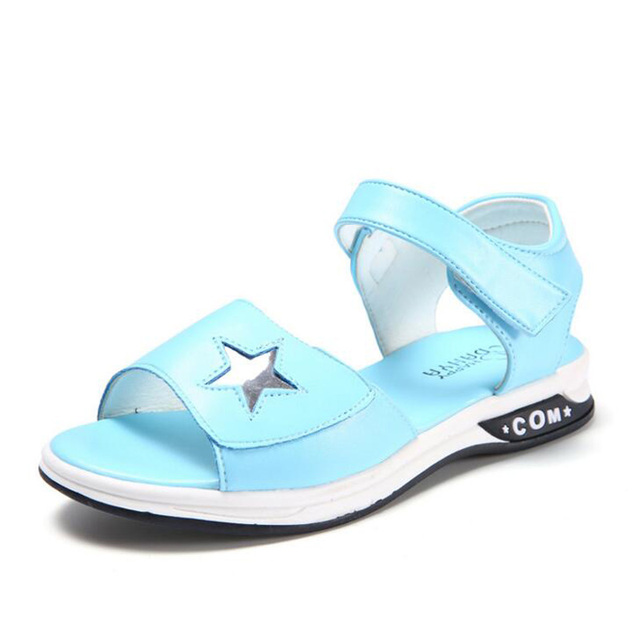 2018 New Arrive Summer Children shoes PU leather Boy Girls Sandals casual kids beach sandals Stars printing size 26-37 for 2-14Y