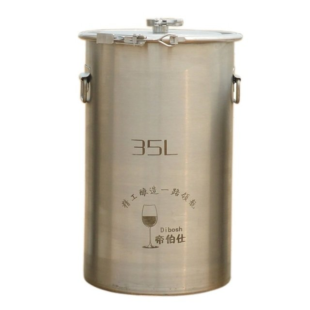 35L 304 Stainless Steel Bucket Home Brewing Fermentation Barrel Wine Fermentor Side Fitting Barrel Top Open Container