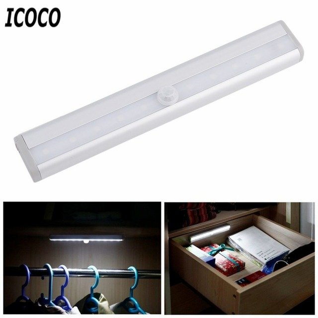 ICOCO High Bright TDL-7120 10 LED IR Infrared Motion Detector Wireless Sensor Lighting Closet Night Lamp Cabinet Wardrobe Light