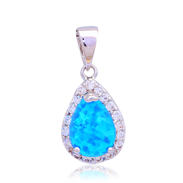 Wholesale Retail Excellent Blue Fire Opal stam[ Silver Pendants Fashion jewelry Party Gifts OP461
