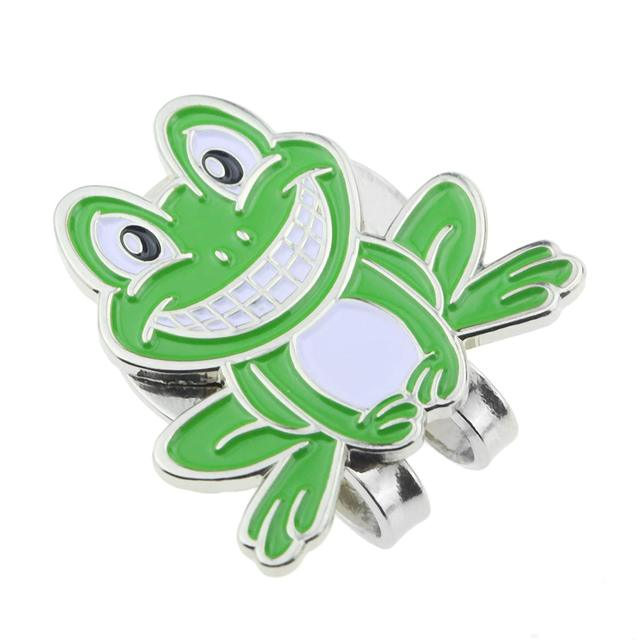 1pcs golf ball marker alloy smilling frog green mark brand new with magnetic cap/hat clip Clamp for golfer New Gift