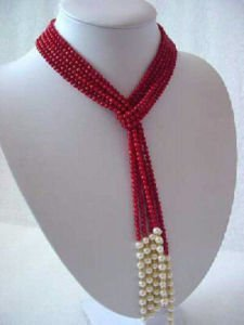 free shipping beautiful Stunning Red Coral Necklace