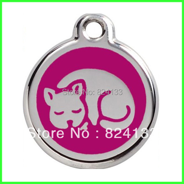 30mm  Sleeping Cat Dog Tags Pendant,500pcs/lot Mixed Color Pet Id Tags,Hot Sale Round Tags,Free Shipping Pet Supplies