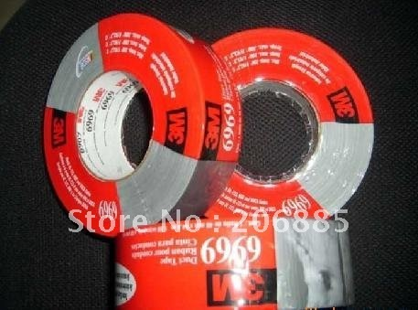 100% Original Guarantee 3M 6969 polyethylene coated tape /black and silver color/48mm*54.8M