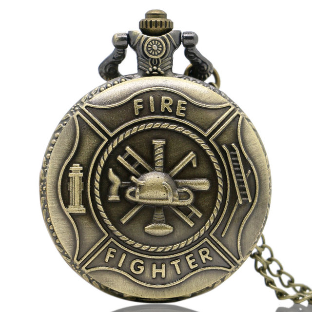 Steampunk Fire Fighter Theme 3D Quartz Pocket Watch Retro With Necklace Chain Pendant for MenWomen Bronze Fob Watches Gifts