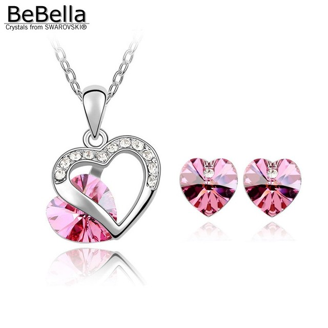 BeBella heart pendant necklace stud earrings fashion jewelry set with Crystals from Swarovski Elements for women girl gift