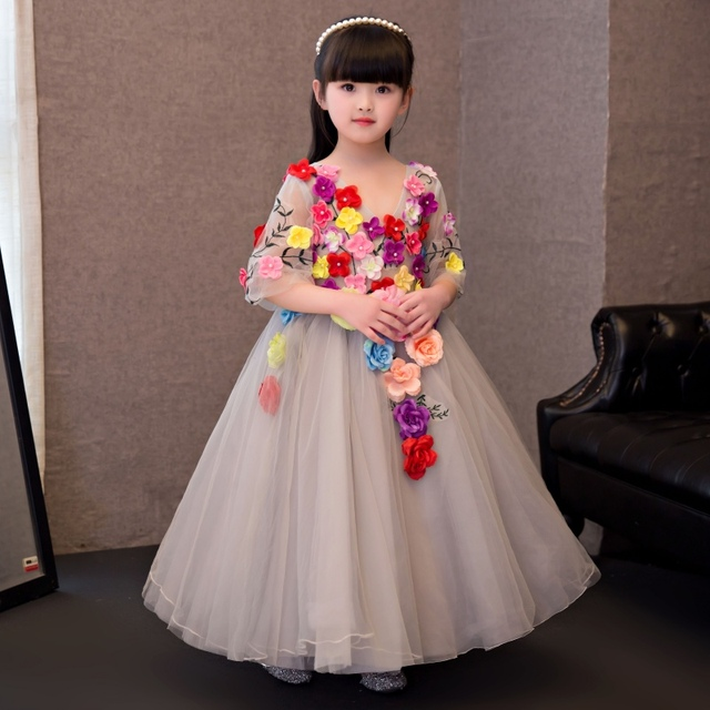 Gorgeous 2019 Flower Girl Dresses Girls Pageant Gowns Sexy Blue Ball Gown for Girls Communion Graduation Dresses Kids Prom Cheap