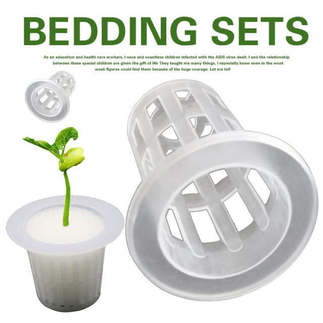 10pcs white Mesh Pot Net Cup Basket + Clone Cloning Collar Foam Insert Hydroponic Vegetable Plant Grow Seed Germinate