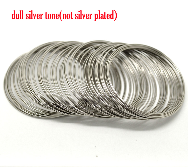 Doreen Box hot-  Silver Color Memory Beading Wire for Bracelet 60mm-65mm Dia. 200 loops (B17929)