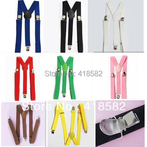 BD001--DHL Free shipping 2.5X100CM 32 solid colors men Suspender Y-back Adjustable Clip-on Elastic women braces
