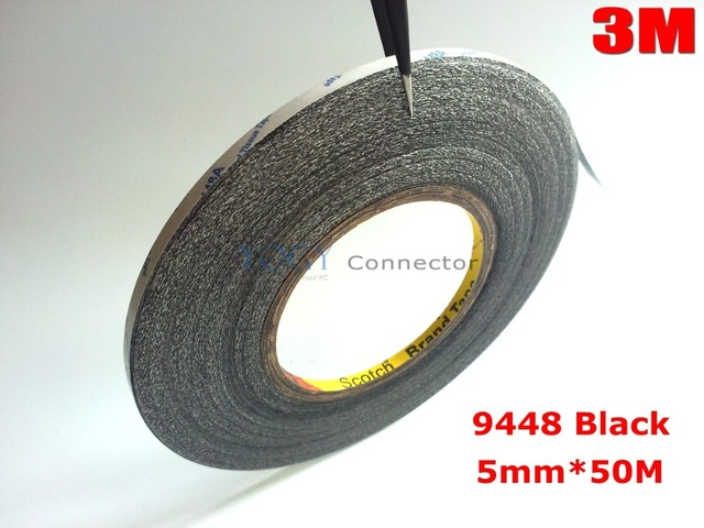 3M Black, 5mm*50 meters 3M 9448 Double Sided Adhesive Tape for iphone HTC Cellphone Touch Screen LCD Display Glass Panel Lens