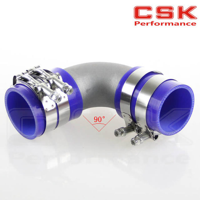 "57mm 2.25"" Cast Aluminum 90 Degree Elbow Pipe Turbo Intercooler+ silicone hose kit BLUE"