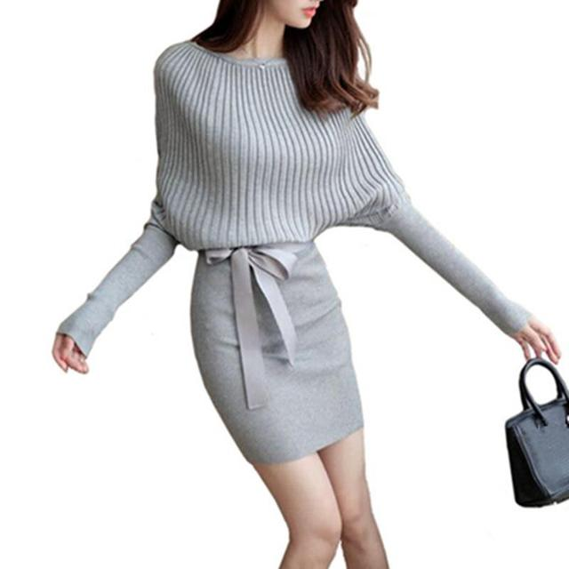New Women Sweater Dress Autumn Slim Batwing Sleeve Bodycon Dresses Elastic Dress Brief Black Knitted Dress vestidos with belt