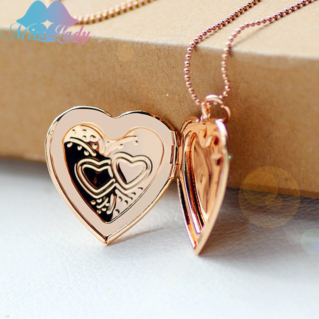 Miss Lady  Double heart pocket watches necklace highly polished photo fashion Pendant love Necklace for women Jewelry MLYA1016