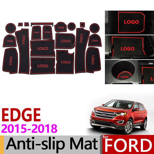 Anti-Slip Gate Slot Mat Rubber Coaster for Ford EDGE Endura 2015 2016 2017 2018 Accessories Car Stickers Second generation 20PCS